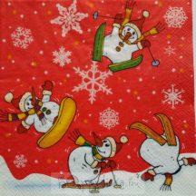Síelő hóemberek szalvéta