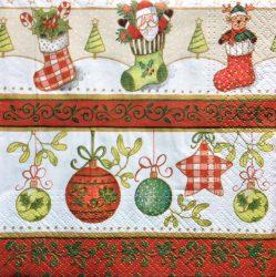 Karácsonyi zoknis gömbös szalvéta