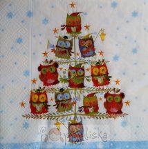 Karácsonyfán ülő baglyok