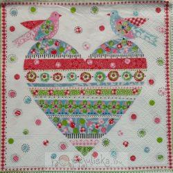 Szív galambokkal szalvéta