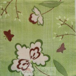 Virágos, zöld szalvéta