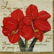 Piros virágos szalvéta