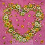 Virágok szív alakban szalvéta