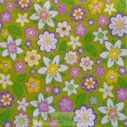 Virágos zöld szalvéta