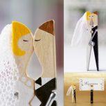 Esküvői csipeszfigurák névre szólóan